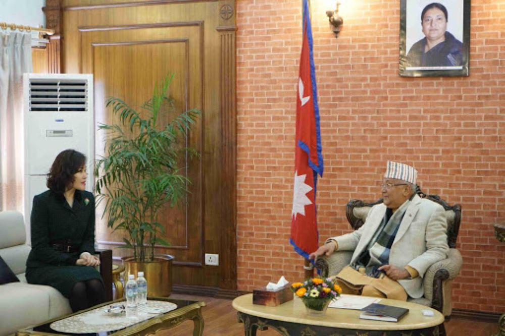 प्रधानमन्त्री ओलीसँग चिनियाँ राजदूत हाउविच फेरि भेट