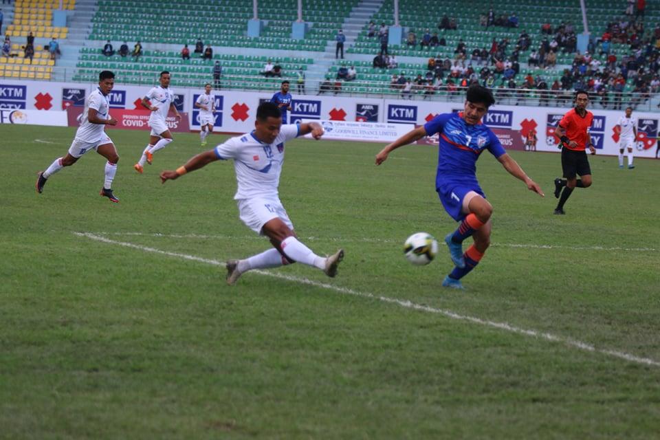 मैत्रीपुर्ण फुटवलमा नेपाल भारतसँग २–१ गाेल अन्तरले पराजित